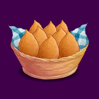 Coxinha desenhada à mão prato brasileiro
