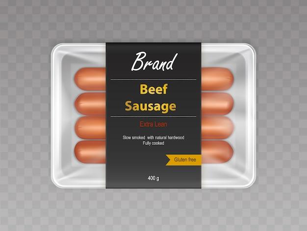 Cozido com fumo lento em salsichas de carne bovina natural em recipiente selado