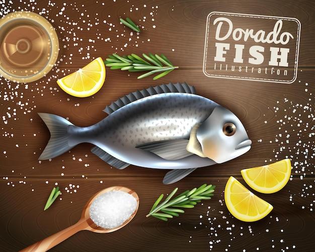 Cozimento de peixe dorado com especiarias limão e sal na textura de madeira