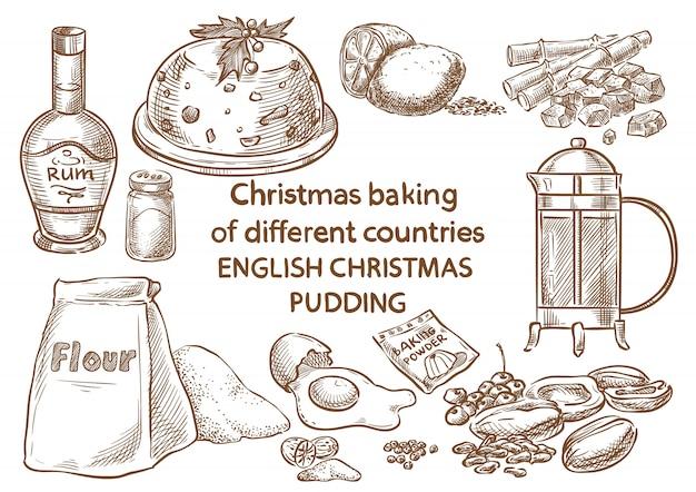 Cozimento do natal pudim de natal de ingredientes.