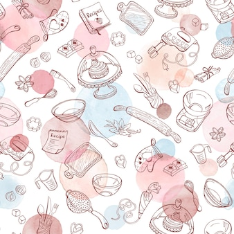 Cozimento doodle padrão sem emenda com utensílios de cozinha. mão-extraídas utensílios de cozimento.