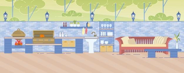 Cozinha ao ar livre com áreas para cozinhar e descansar em estilo simples