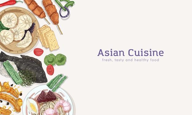 Cozinha asiática, pratos orientais tradicionais e aperitivos com fundo de espaço de cópia