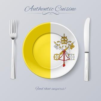 Cozinha autêntica da cidade do vaticano. prato com bandeira e talheres