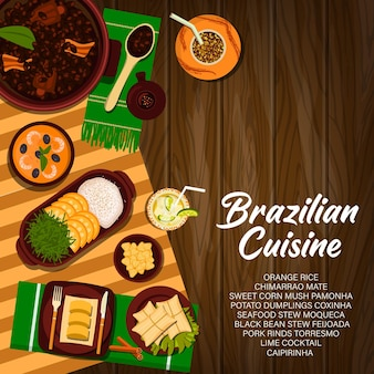 Cozinha brasileira, pôster de vetor de comida do brasil