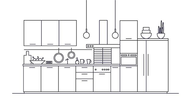 Cozinha cheia de móveis, eletrodomésticos, panelas, instalações e utensílios de cozinha, decoração para casa.