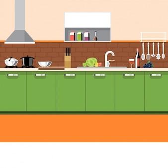 Cozinha com elementos