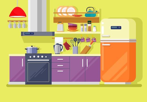 Cozinha com ilustração plana de móveis