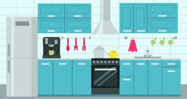 Cozinha com móveis.