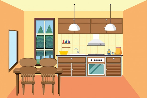 Cozinha com pequena área para refeições