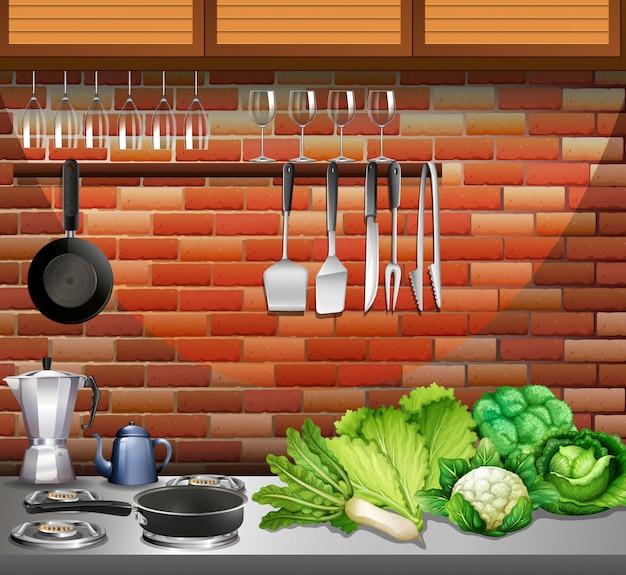 Cozinha com utensílios e legumes