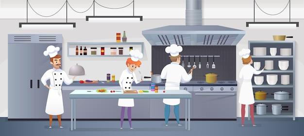 Cozinha comercial com chef de personagens de desenhos animados