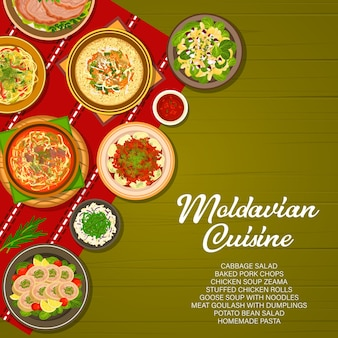 Cozinha de comida da moldávia, capa de menu da moldávia, refeições de almoço e jantar, vetor. comida da cozinha tradicional da moldávia ou da moldávia, massas caseiras, salada de repolho e sopa de ganso com macarrão na mesa
