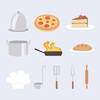 Cozinha de comida, pizza, pão, utensílios, bolo e ícones de chapéu de chef