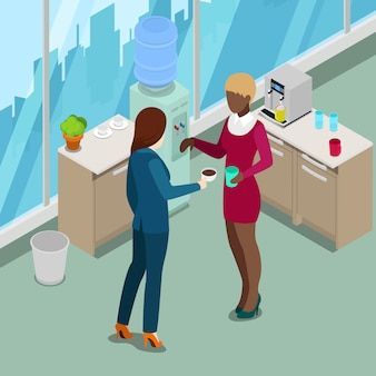 Cozinha de escritório isométrica. pessoas de negócios, bebendo café. ilustração vetorial