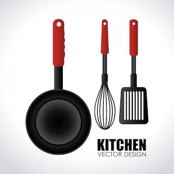 Cozinha, desenho, cinzento, ilustração