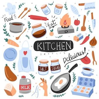 Cozinha doodle colorido
