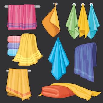 Cozinha e banho pendurado e dobrando toalhas isoladas vector set
