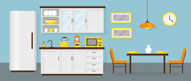 Cozinha e sala de jantar no escritório ou em casa.