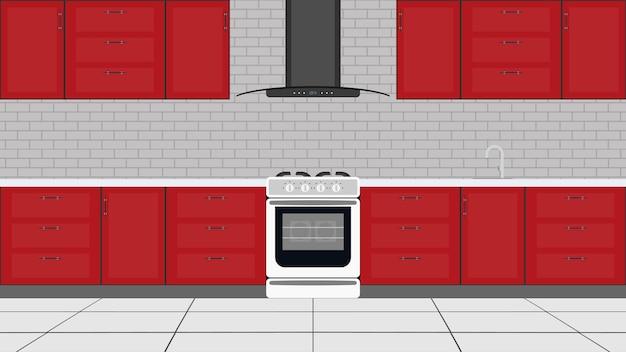 Cozinha elegante em estilo simples. armários de cozinha vermelhos, fogão, forno. vetor.