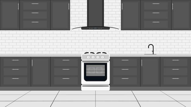 Cozinha elegante em um estilo simples. armários de cozinha, fogão, forno.
