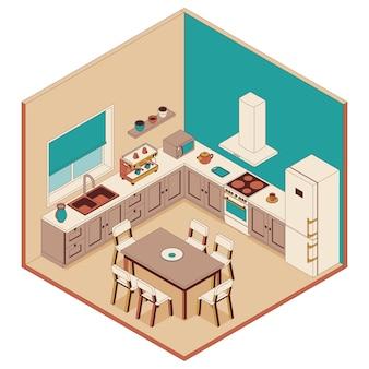 Cozinha em estilo isométrico. poltronas, móveis e computador