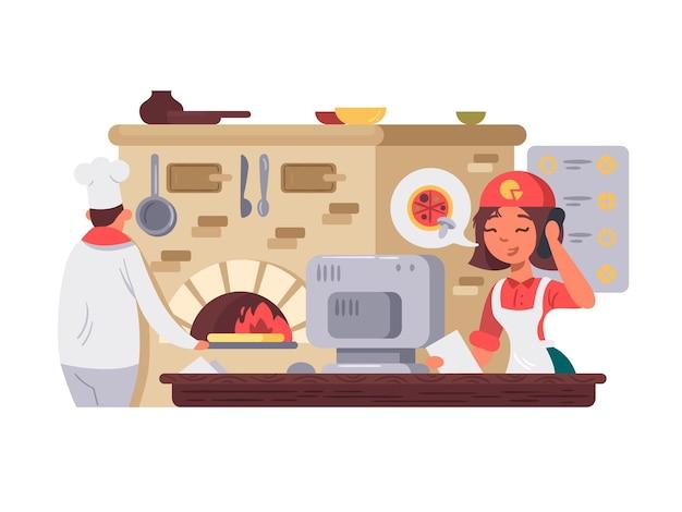 Cozinha em pizzaria chef prepara pizza operador leva ordem ilustração vetorial
