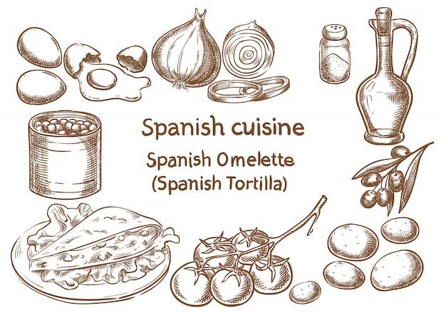 Cozinha espanhola. esboço espanhol do vetor dos ingredientes do omlette (tortilla).