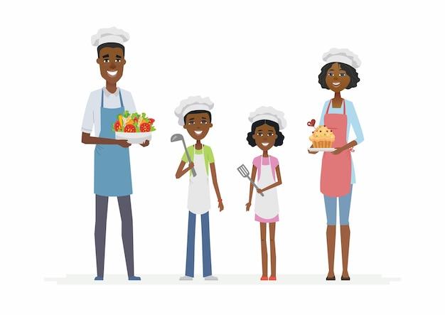 Cozinha familiar africana - personagens de desenhos animados isolados ilustração em fundo branco. pais jovens sorridentes com filhos em pé, vestindo roupas e chapéus de chef, segurando pratos e talheres