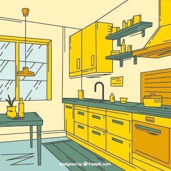 Cozinha fantástica com decoração verde e amarelo