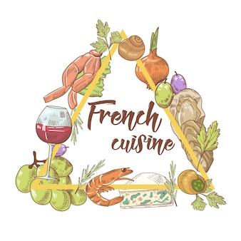 Cozinha francesa desenhada à mão