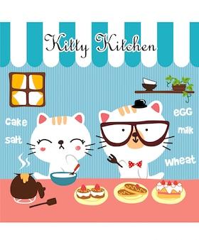Cozinha gatinho fofo