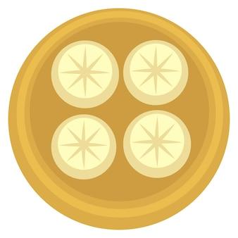 Cozinha georgiana tradicional de khinkali e comida nacional. ícone isolado de tigela com bolinhos de recheio cozidos. menu de restaurante ou lanchonete, comendo e preparando refeição de carne em casa. vetor em estilo simples