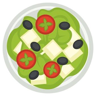 Cozinha grega nacional, ícone isolado de placa com fatias de tomate, azeitonas e queijo feta. salada representando pratos nacionais. variedades de restaurante ou jantar no menu. vetor em estilo simples