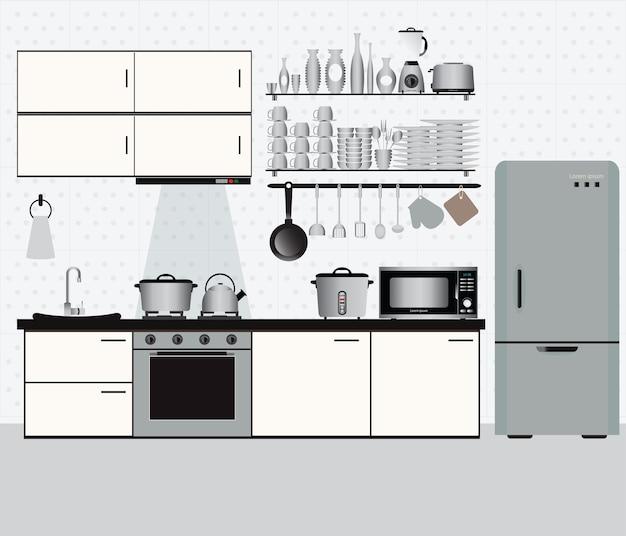 Cozinha interior com prateleiras de cozinha e utensílios de cozinha.