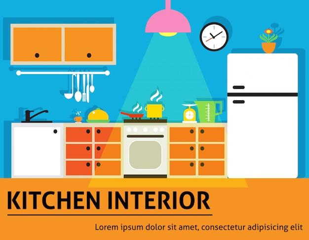 Cozinha, interior, ilustração
