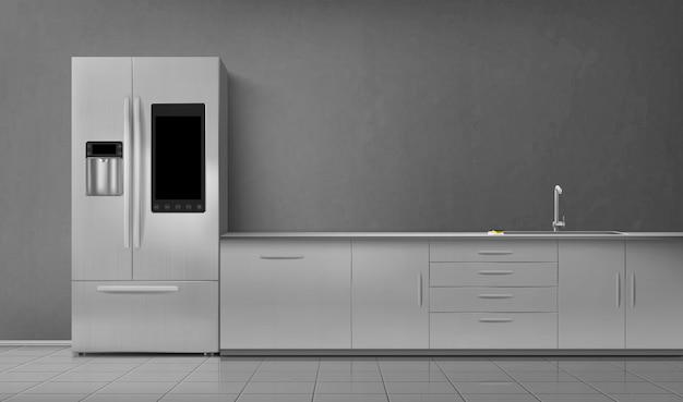 Cozinha interior inteligente frigorífico e lavatório na mesa