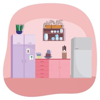 Cozinha interior louças armários frigorífico facas e plantas
