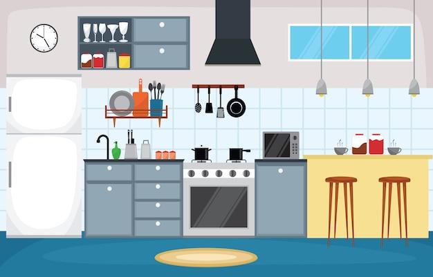 Cozinha, interior, mobília, cutelaria, talheres, cozinhando, apartamento