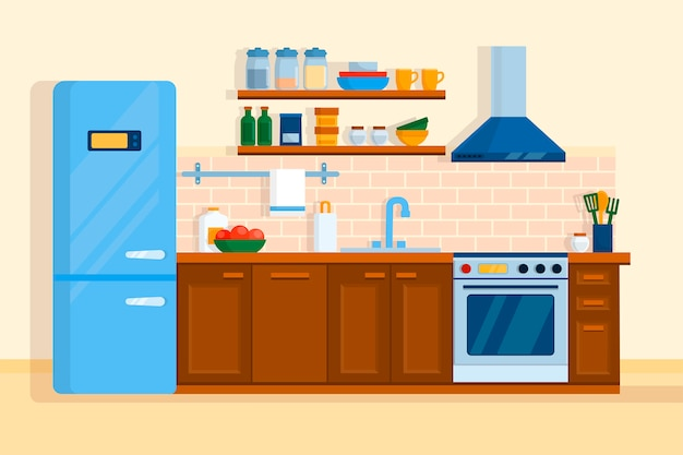 Cozinha interior móveis para casa mesa, fogão e geladeira