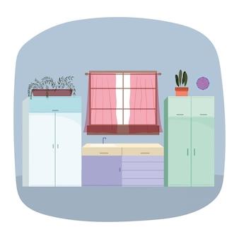 Cozinha interior pia móveis janela cortinas vasos de plantas