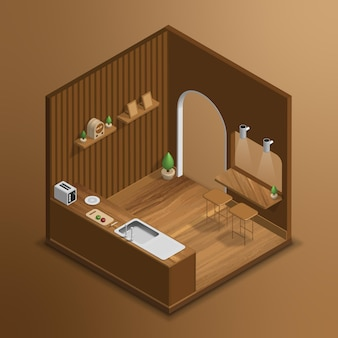 Cozinha isométrica 3d realista