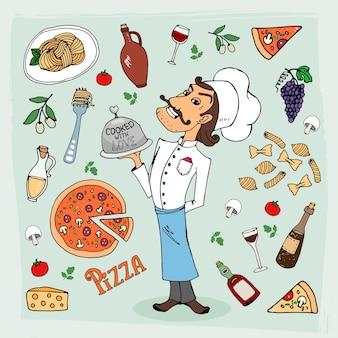 Cozinha italiana e ilustração de comida desenhada à mão