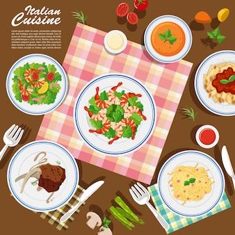 Cozinha italiana na mesa