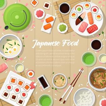 Cozinha japonesa comida tradicional com sushi e wasabi