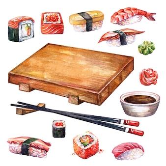 Cozinha japonesa conjunto rolos, sushi, tabuleiro e pauzinhos, ilustração em aquarela, isolada no fundo branco.