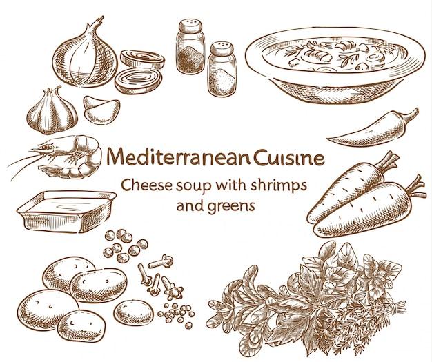 Cozinha mediterrânea. sopa de queijo com camarões e verduras.