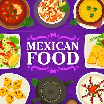 Cozinha mexicana cardápio de comida restaurante refeições pratos