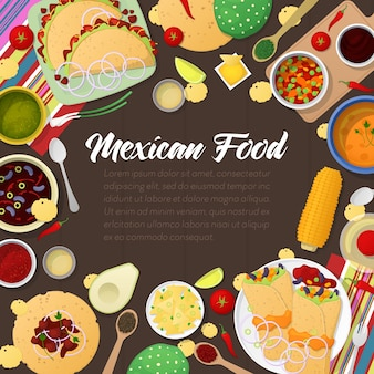 Cozinha mexicana comida tradicional com tacos