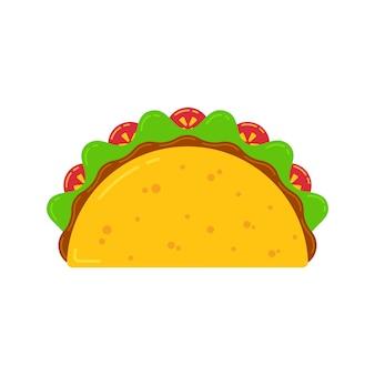 Cozinha mexicana fast food delicioso taco de desenho
